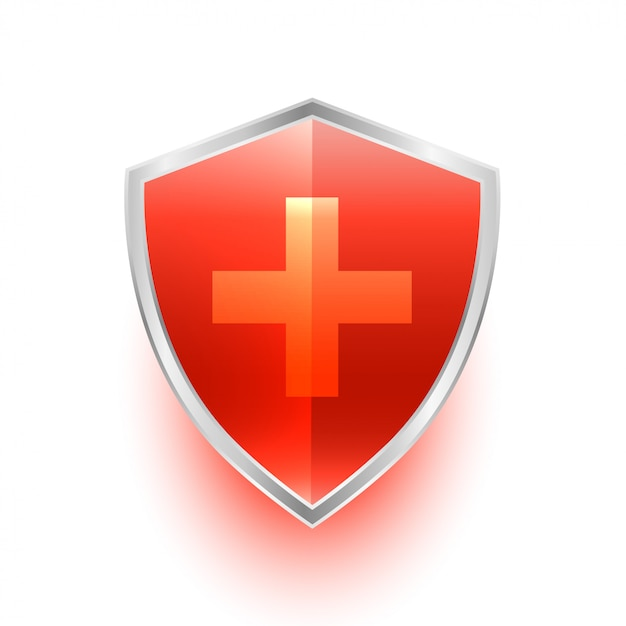 Isolated medical shield protection symbol with cross Free Vector