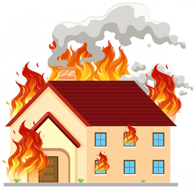Isolated modern house on fire | Premium Vector