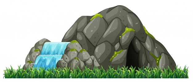 Isolated nature cave on white background Free Vector