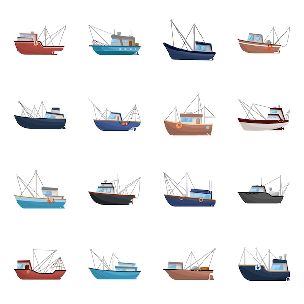 Isolated object boat and fishing . set boat and vessel stock symbol . Premium Vector
