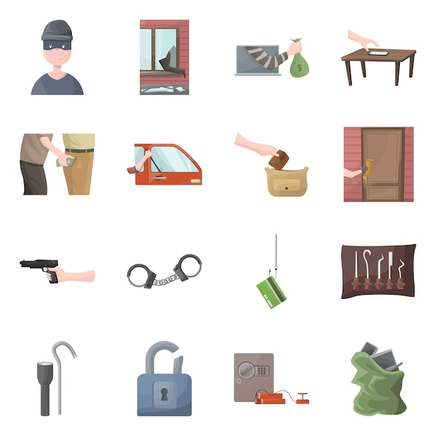 Isolated object of criminal and police logo. collection of criminal and robbery set Premium Vector