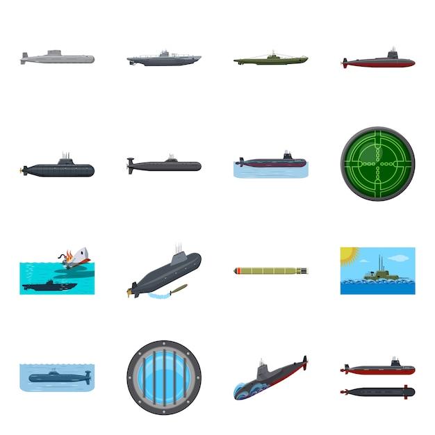 Изолированный объект символ лодки и военно-морского флота. набор лодки и глубокий набор Premium векторы
