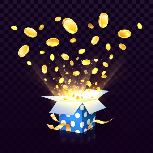 Isolated open textured gift box with coins explosion out on the transparent background Premium Vector