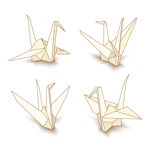Isolated origami paper cranes Premium Vector