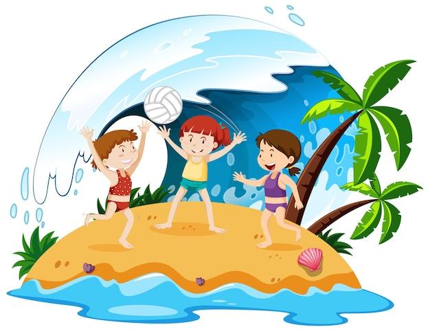 Persone isolate in spiaggia Vettore gratuito