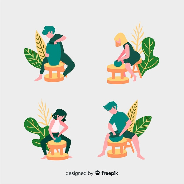 Isolated people making pottery Free Vector