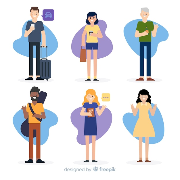Isolated people waiting their transport Free Vector