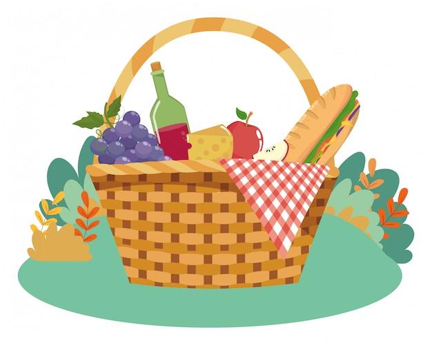Isolated picnic basket  vector illustrator Premium Vector