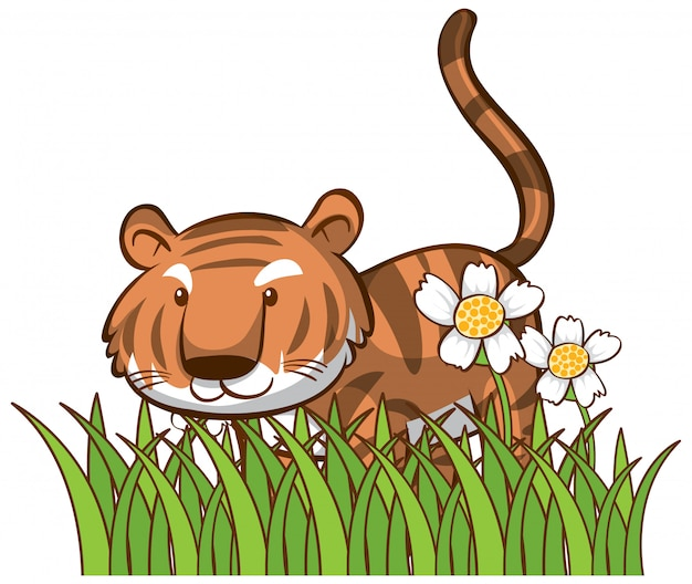 Isolated picture of cute tiger Free Vector