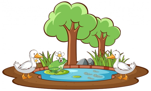 Isolated picture of duck and frog in the pond Free Vector