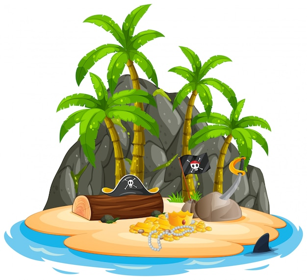An isolated pirate island Premium Vector