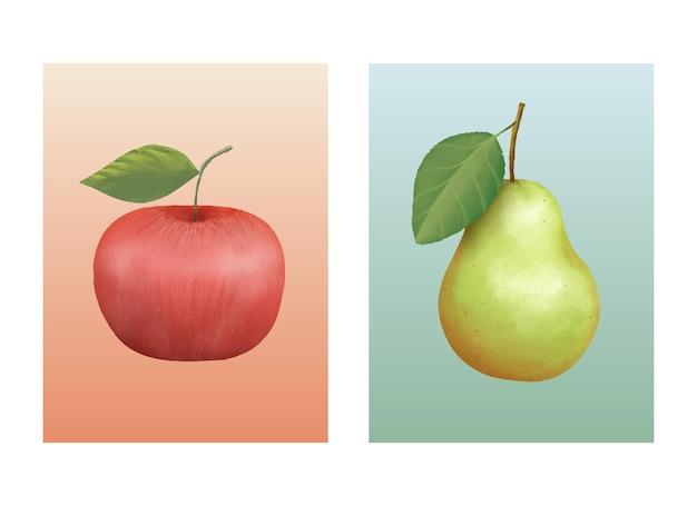 孤立したポスター手描きのリンゴと梨の果実 Premiumベクター