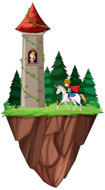 Isolated prince and princess castle Free Vector