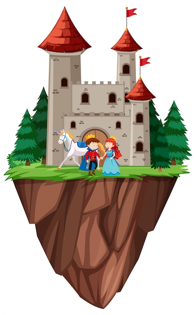 Isolated prince and princess castle Premium Vector
