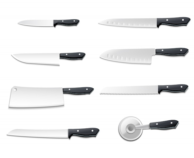 Isolated realistic knives icon set with sharp blades for pizza meat bread fish vector illustration Free Vector