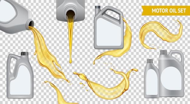 Изолированные реалистичные моторное масло прозрачный значок набор канистра с желтым маслом на прозрачной Бесплатные векторы