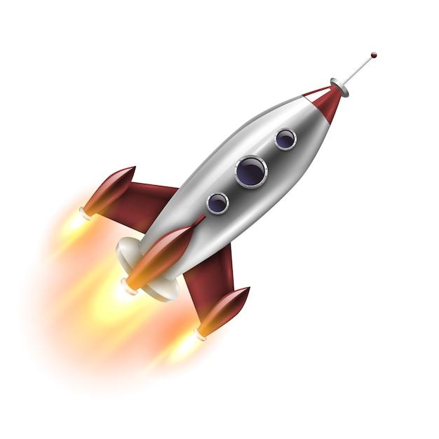 Isolated realistic rocket Premium Vector