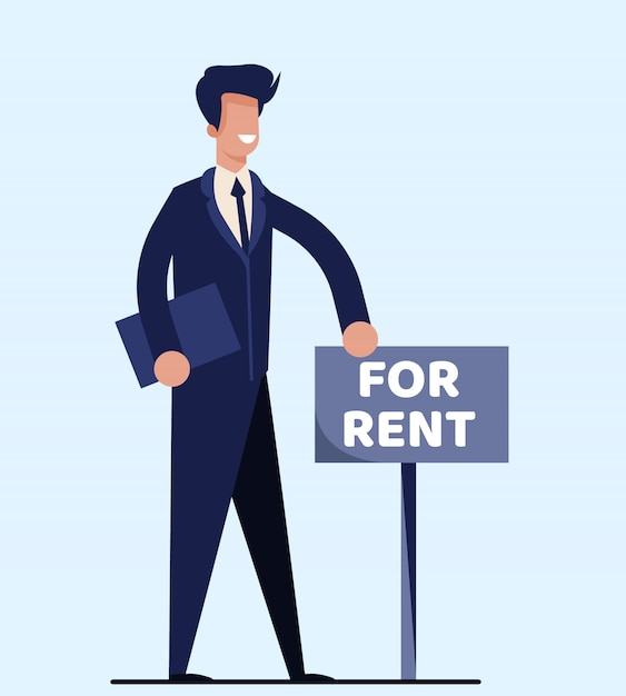 Isolated realtor standing near signboard for rent Premium Vector