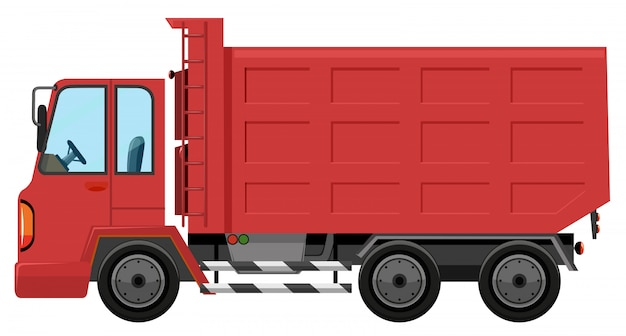 An isolated red truck Premium Vector