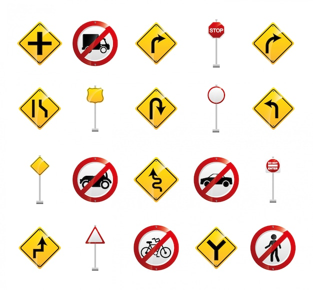 Isolated road sign icon set Free Vector