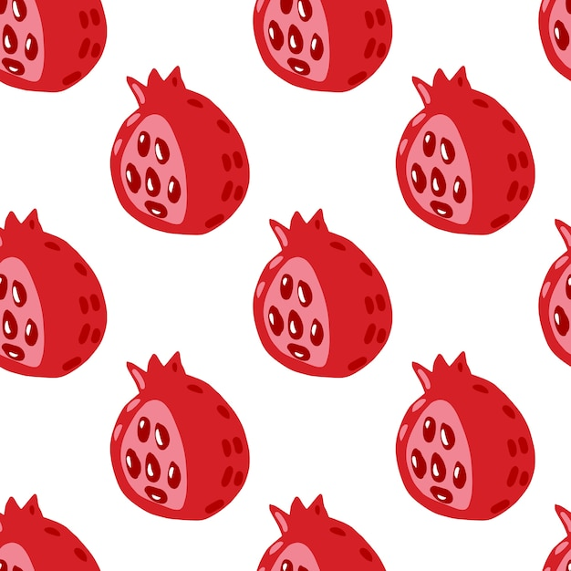 Изолированные бесшовные модели с красными гранатами. печать фруктов каракули на белом фоне. Premium векторы