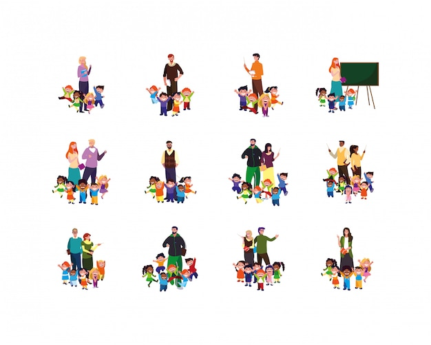 Isolated set of boys and girls with teachers illustration Premium Vector