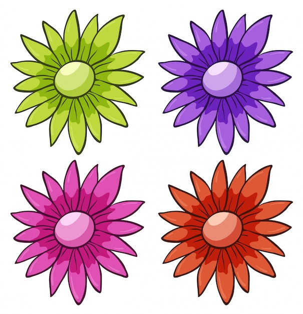 Isolated set of flowers Free Vector