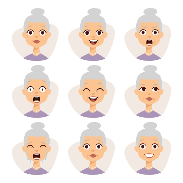 Isolated set of funny granny avatar expressions face emotions  illustration. Premium Vector