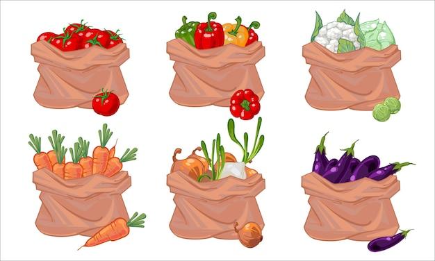 さまざまな野菜の袋の分離セット。 Premiumベクター