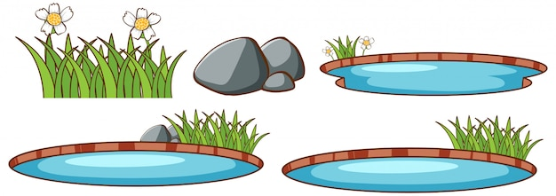 Isolated set of pond Free Vector