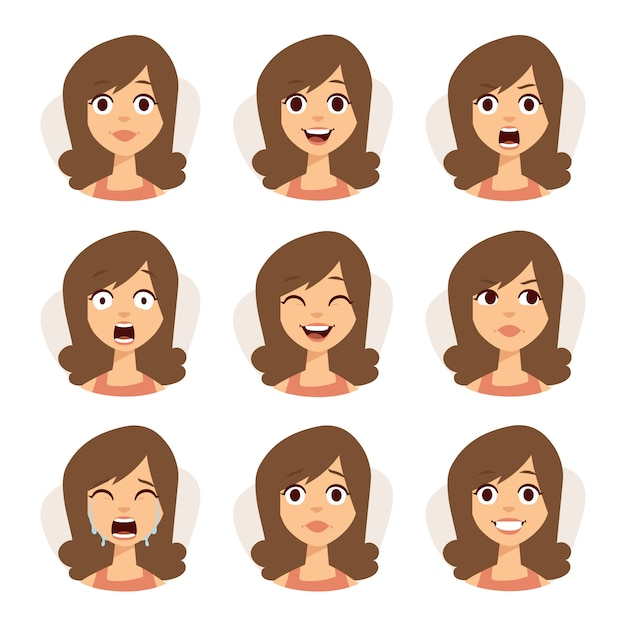 Isolated set of woman avatar expressions face emotions  illustration. Premium Vector
