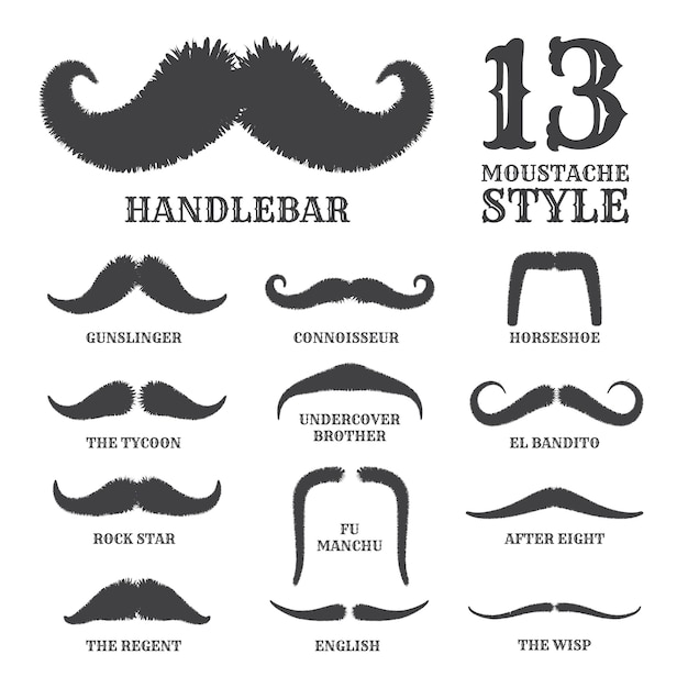 Isolated silhouette moustache collection with style name Premium Vector