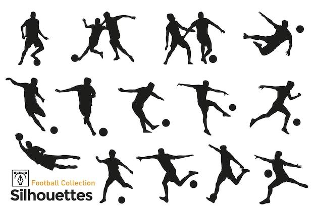 Изолированные силуэты футболистов. игроки в разных позициях играют в мяч. Premium векторы