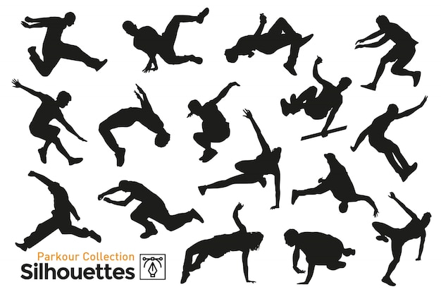 Isolated silhouettes of sportsmen practicing parkour around the city. premium collection. Premium Vector
