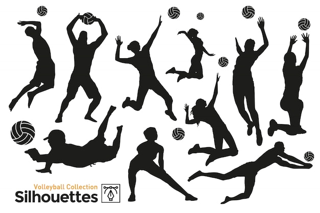Isolated silhouettes of volleyball. players practicing sport. Premium Vector