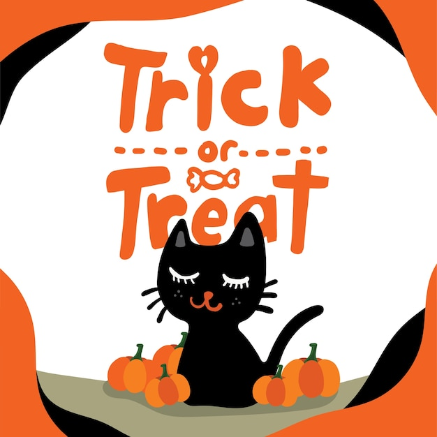 Изолированные улыбается черный кот и оранжевые тыквы с