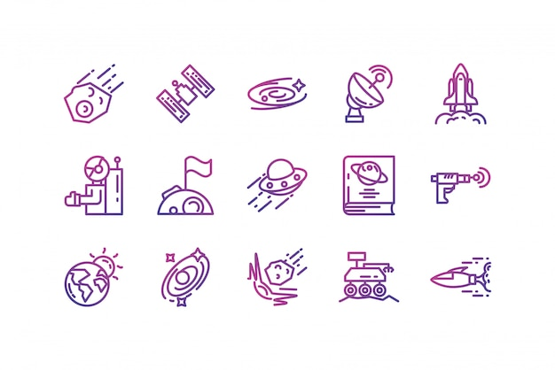 Isolated space icon set vector design Premium Vector