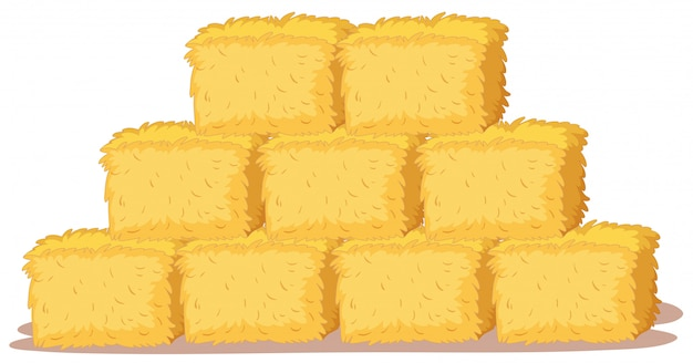 Isolated stack of straw Free Vector