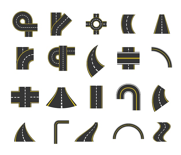Isolated street icon set Free Vector