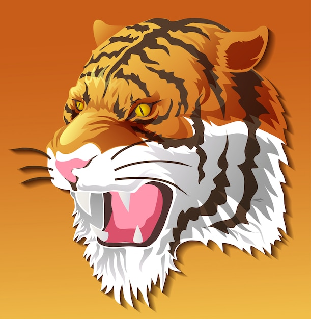 Isolated tiger head in color background. Premium Vector