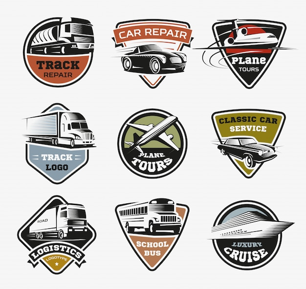 Набор ретро изолированных логотипов транспорта Бесплатные векторы
