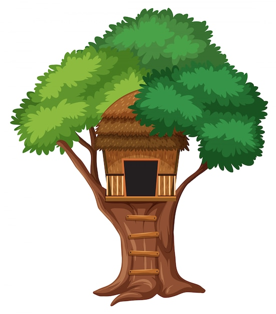 Isolated tree house on white background Premium Vector