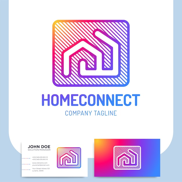 Isolated vector two line style home connect logo or building Premium Vector