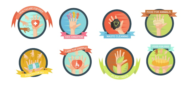 Isolated volunteering emblems set Free Vector