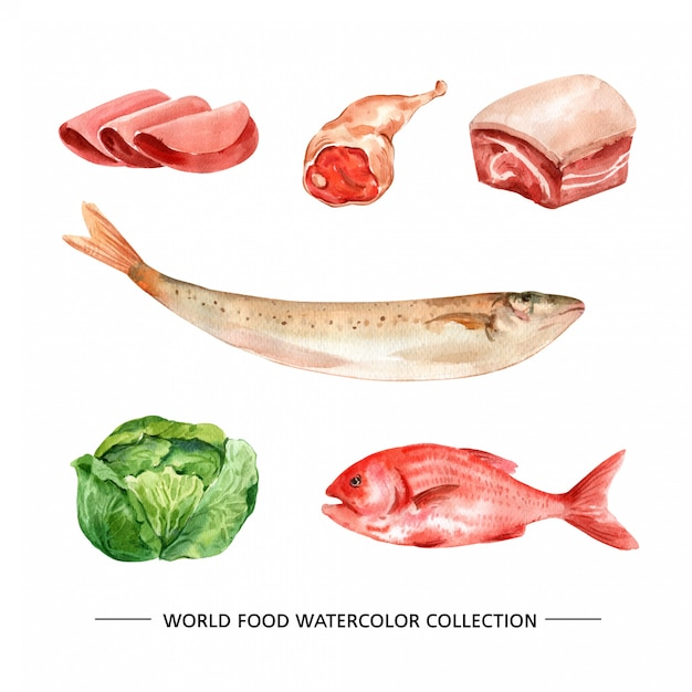 Isolated watercolor ham, fish, meat illustration Free Vector