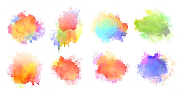Isolated watercolor splatter stain colorful set of eight Free Vector