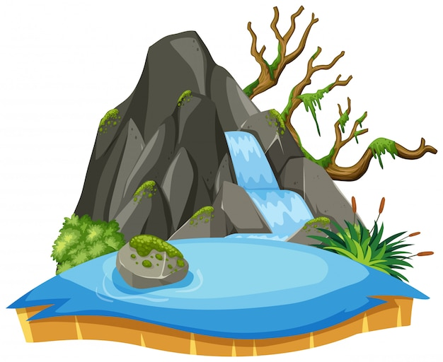 Isolated waterfall landscape on white Premium Vector