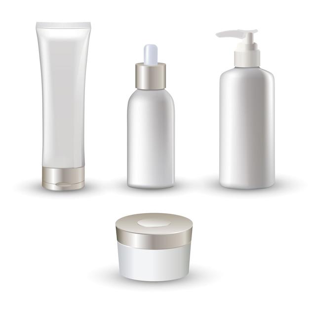 クリームとエマルションのスキンケアのために設定された分離の白い現実的な化粧品のチューブアイコン 無料ベクター