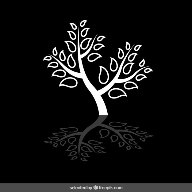 Isolated white tree silhouette Free Vector