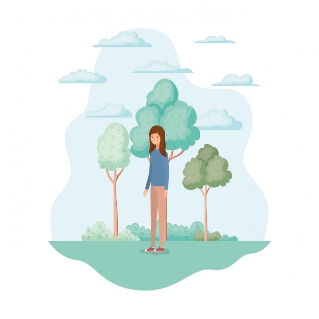 Isolated woman in the park Free Vector